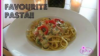 Spaghetti mit Gemüse-Sahnesoße (VEGAN)  | pretty.happy.vegan |