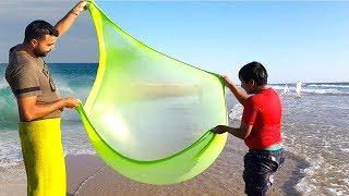 On a fait du slime à la plage, slime at the beach, adel sami les boys tv