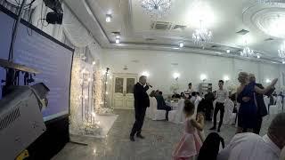 Папа невесты поет на свадьбе дочери.