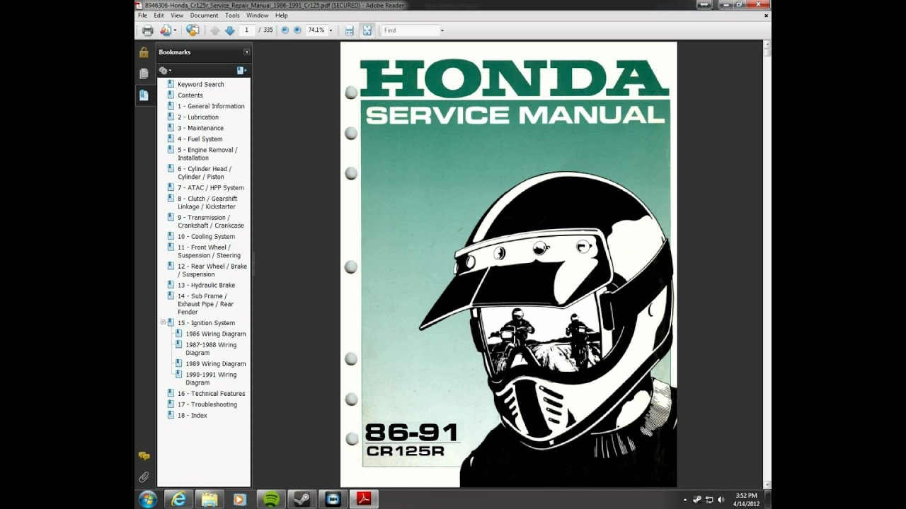 1986 1991 honda cr125 repair manual youtube rh youtube com Honda 3000 Generator Schematic Honda Pilot Schematic