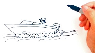 How to draw a Speedboat Drawing Lesson Step by Step