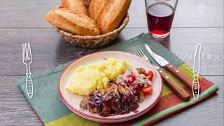 Утиная грудка под клюквенным соусом с картофельным пюре. Доставка продуктов с рецептами Шефмаркет