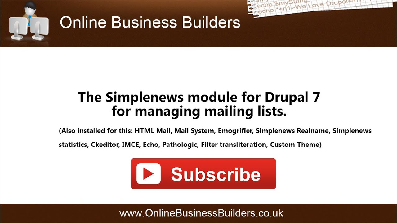 Using Simplenews For Drupal 7 To Send A Newsletter Youtube