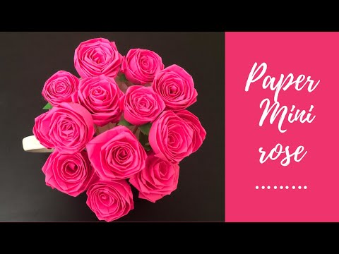 how to make paper mini rose / rose bouquet / easy paper flower / DIY paper crafts / flower making