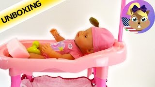 Princess Coralie Doll's Bed also changing table and stool Unboxing and Review in English