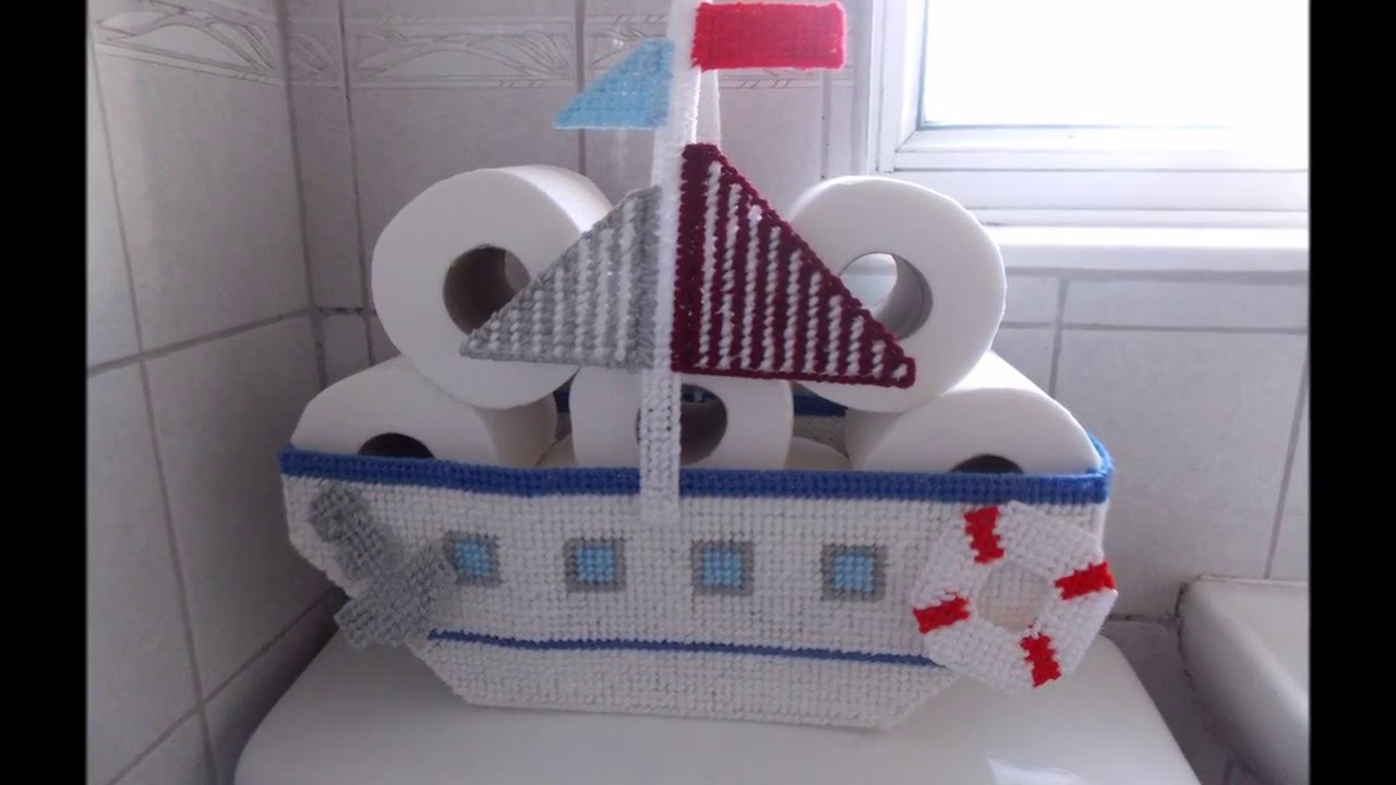 How to make Plastic Canvas Boat Toilet Roll Basket - YouTube Boat Ornaments For Bathroom on decks for boats, toilets for boats, wiring for boats, kitchen cabinets for boats, carpet for boats, sump pumps for boats, beds for boats, bedding for boats, lighting for boats, grab rails for boats, furniture for boats, windows for boats, steps for boats, upholstery for boats, doors for boats, boilers for boats, carports for boats, solar panels for boats, grills for boats, sinks for boats,