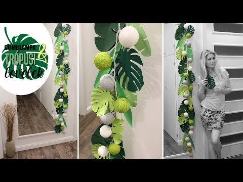 Room DIY decor: Lantern Tropical leaves / Szoba dekoráció: Gömblampion