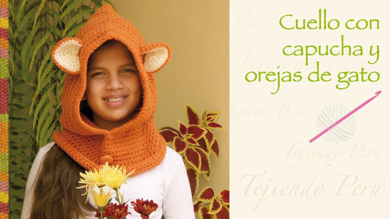Capucha con orejas de gato tejida a crochet / Easy crochet cat hooded cowl , YouTube