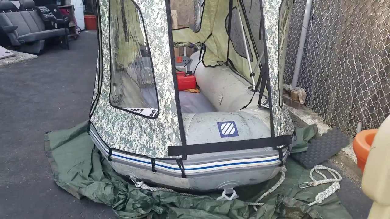 Inflatable Boat Tent Cabin Youtube