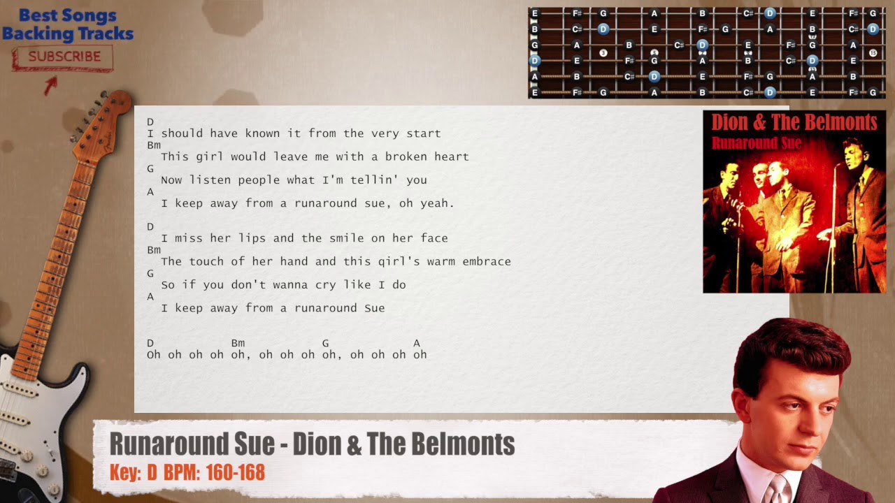 Runaround Sue Dion The Belmonts Guitar Backing Track With Chords