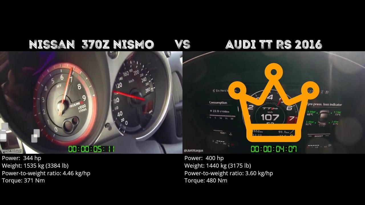 Nissan 370z Nismo Vs Audi Tt Rs 2016 0 100 Km H Youtube
