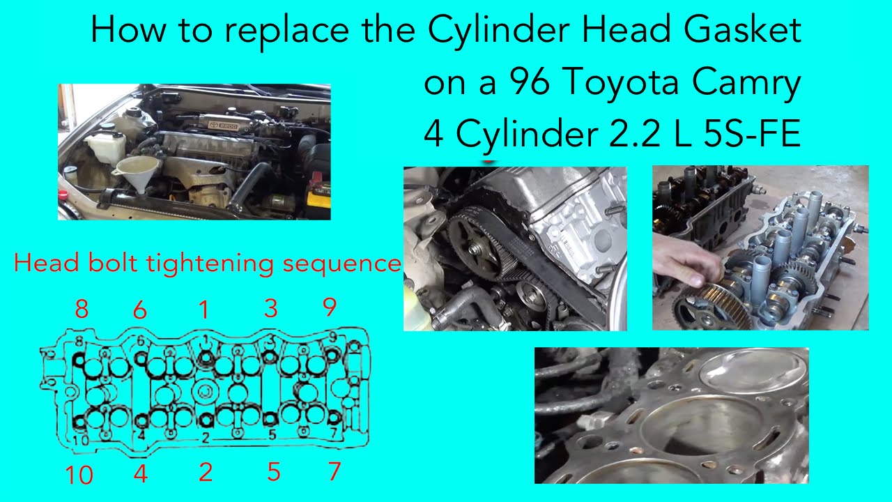 how to replace the cylinder head gasket on a 96 toyota camry 4 cylinder [ 1280 x 720 Pixel ]