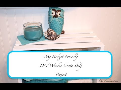 DIY Wooden Crate Shelf Project for a small guest bathroom - budget friendly // Cluttered CorkBoard