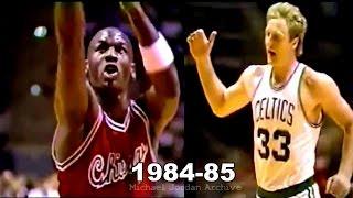 02.22.1985 - Rookie Michael Jordan vs Larry Bird! (MJ Great Effort for Saving the Game!)
