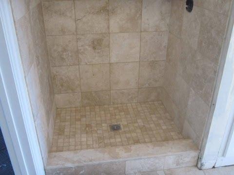 Travertine tile  Bathroom with heated floor.