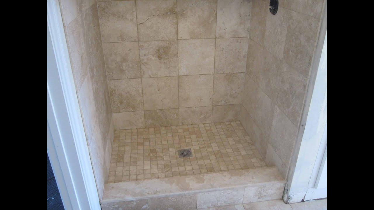 Travertine Tile Bathroom With Heated Floor.