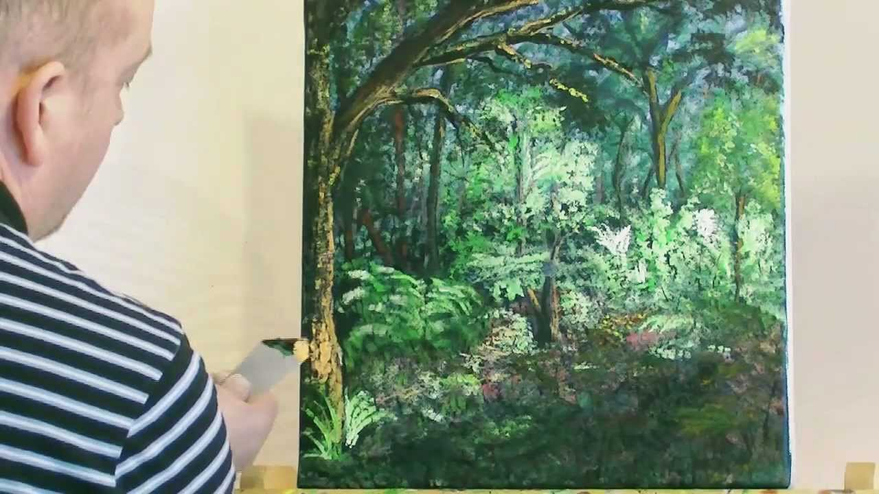 The forest glade acrylic painting by steve buchanan for How to start acrylic painting
