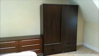 Ikea Trysil Wardrobe Sliding Doors 4 Drawers, Dark Brown Black Design
