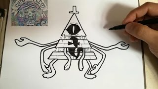 COMO DIBUJAR A BILL CIPHER - MODO PESADILLA GRAVITY FALLS  / how to draw bill cipher red