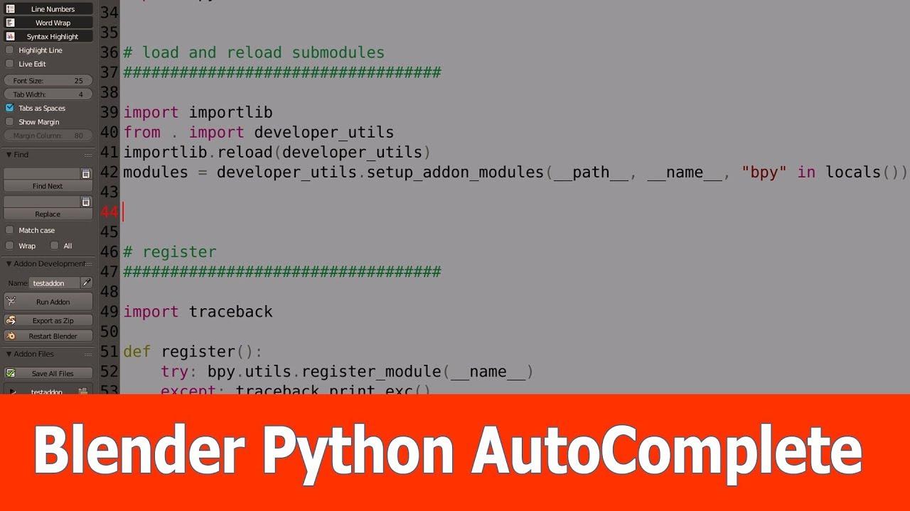 Blender Python Scripting : Autocomplete
