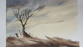 How to Draw and Paint a Winter sunset Tree. Easy and fun to follow. With Peter Sheeler(This simple video demonstrates my technique in drawing a tree trunk and limbs. Notice how many limbs crisscross over each other. Music by Jason Shaw, ..., 2016-08-13T14:00:04.000Z)