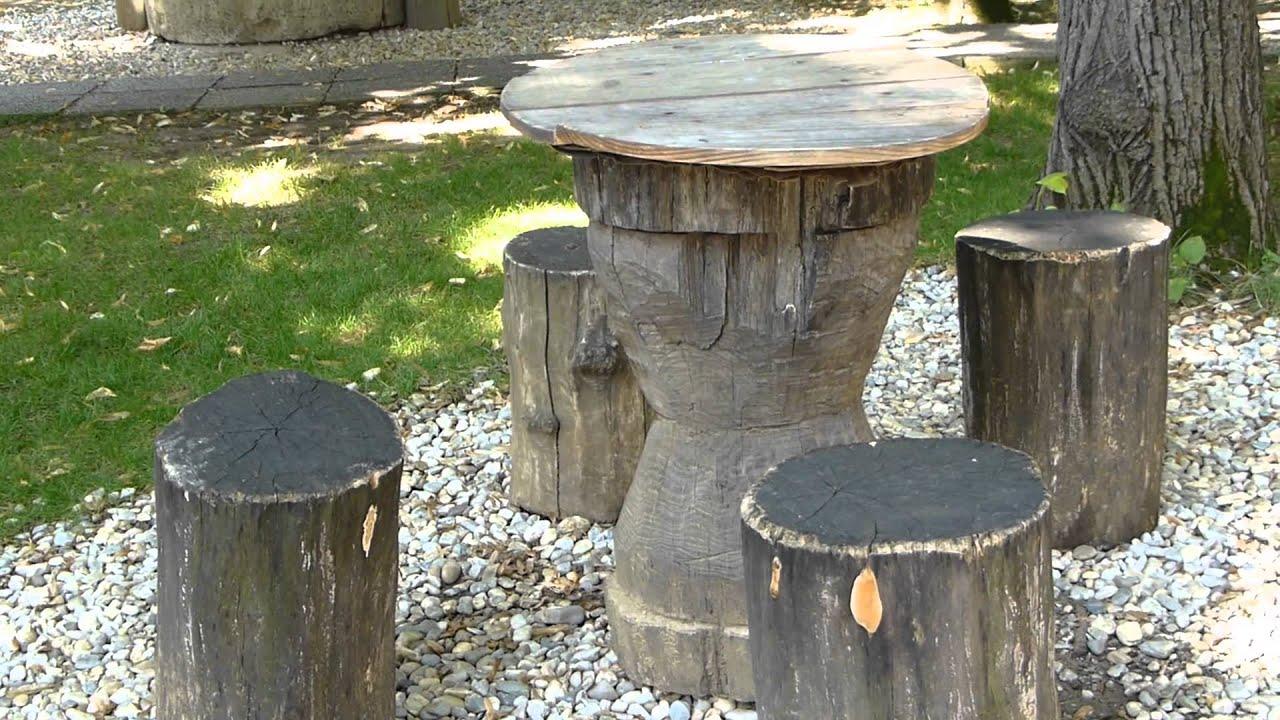 12226 mesa y sillas de troncos de rbol raw objetos y for Mesas de troncos de arboles