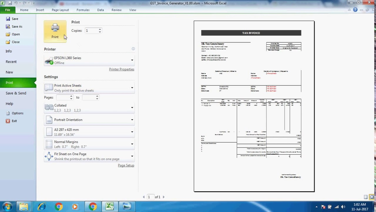 gst tax invoice generator excel youtube