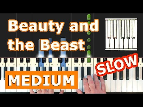 Beauty and the Beast - SLOW Piano Tutorial Easy - Disney - Sheet Music (Synthesia)