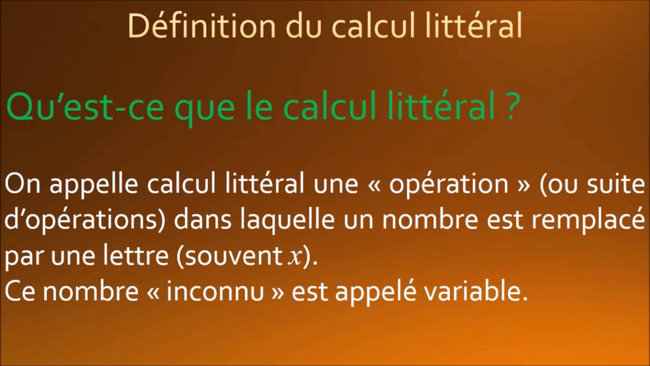 calcul litt u00e9ral   d u00e9finition