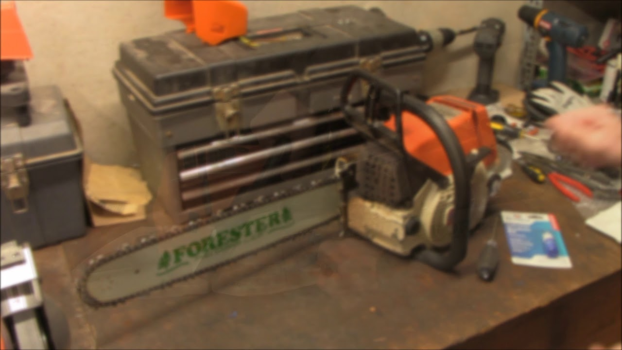 1980s Stihl 034 chainsaw loose muffler fix - YouTube