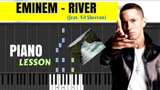 Eminem - River (feat. Ed Sheeran) Piano (Tutorial + SHEETS) // Synthesia Cover + MIDI