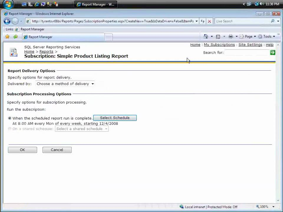 automate report delivery in sql server reporting services - Sql Report Writing