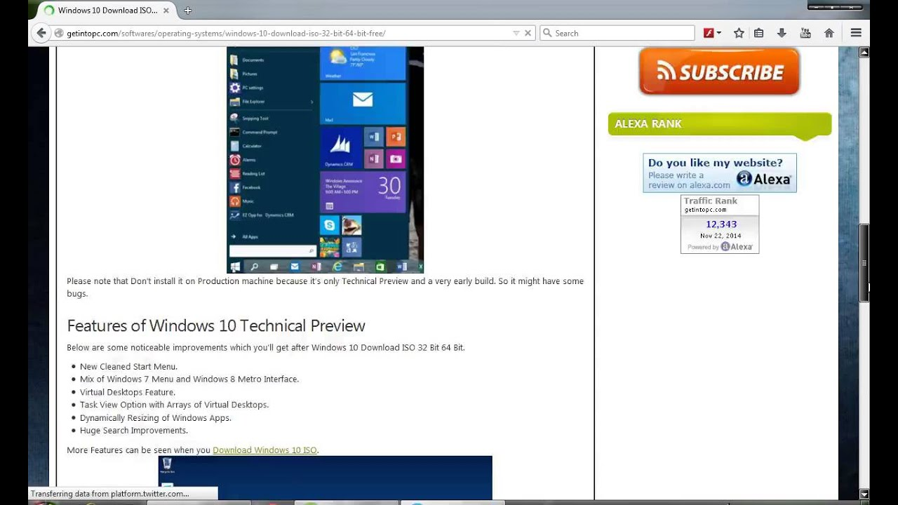 tutorial download Windows 10 Tech Preview EN-US (64 bit + 32 Bit) ISO 2015