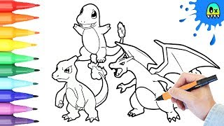 Pokémon Coloring book pages speed coloring for kids Charmander Charmeleon and Charizard