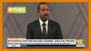 Ethiopia's Prime Minister Abiy Ahmed moments ago been handed his Nobel Peace Prize medal