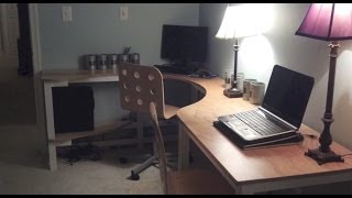One And 1/4  Sheet Plywood Corner Desk That Sits Two