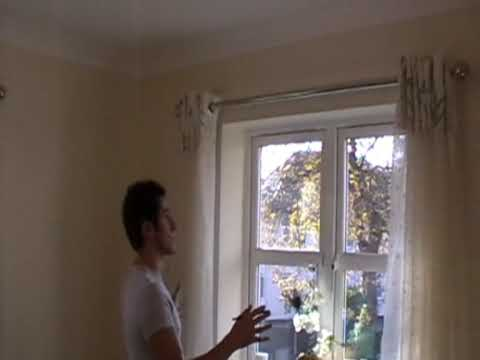 Curtains Ideas curtain rod close to wall : FITTING A METAL CURTAIN POLE for eyelet curtains - YouTube - YouTube