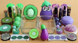 "Mixing ""Kiwi VS Eggplant"" Eyeshadow and Makeup,parts,glitter Into Slime!Satisfying Slime Video!★ASMR"