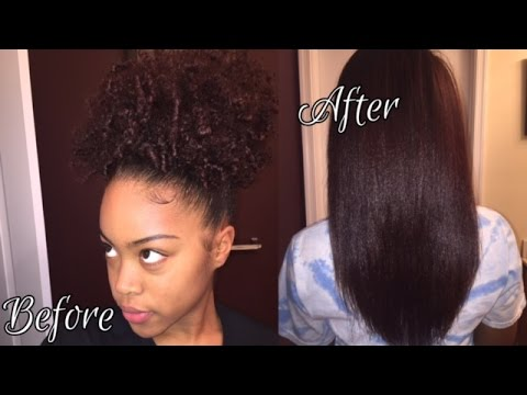 3c4a Natural Hair How I StraightenFlat Iron YouTube