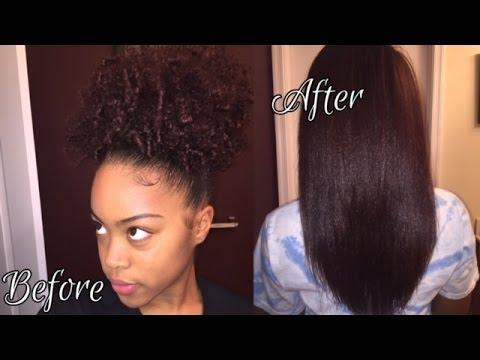 3c 4a natural hair straighten flat