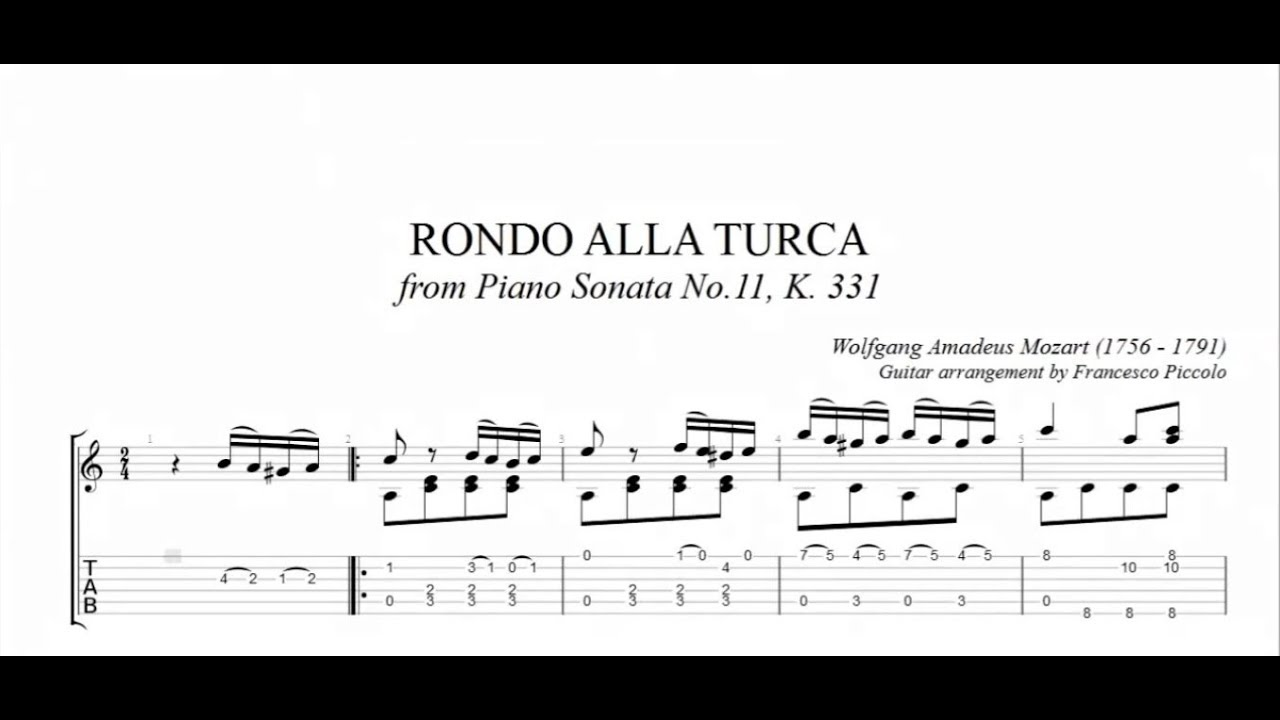 Alla Turca Mozart classical guitar - w.a. mozart - rondo alla turca (free tab)