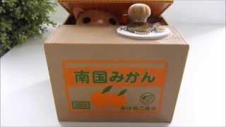 Cat In Box Stealing Money Coins ★ Cute Japanese Piggy Bank Saving Box