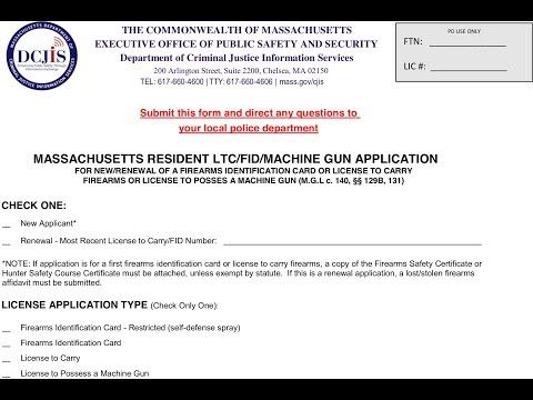 Reviewing MA LTC/FIDC (Gun Permit) Application