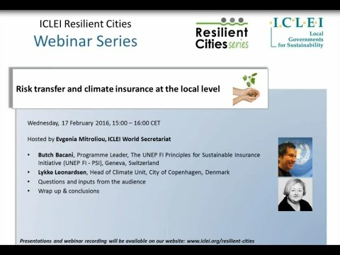 Webinar: Risk transfer and climate insurance at the local level