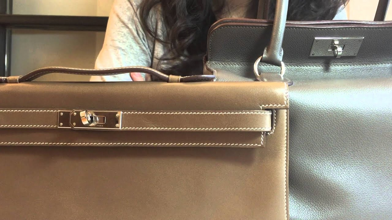 hermes kelly bag vs birkin bag - Hermes Color Comparison | Etoupe vs. Etain - YouTube