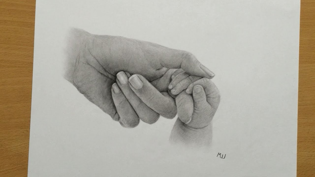 Mom and Baby Holding Hands Pencil Drawing - YouTube