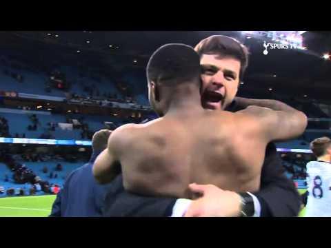 Tottenham boss Mauricio Pochettino celebrates with all the players. COYS