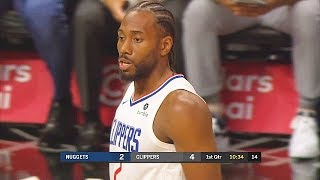 Kawhi Leonard First Clippers Points In Debut! Clippers vs Nuggets 2019 NBA Preseason