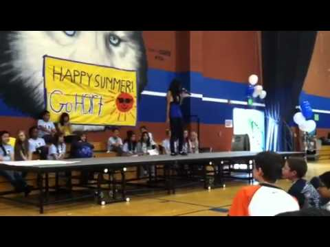 Shirley singing at HART Middle School