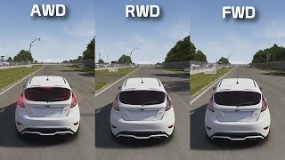 awd vs rwd vs fwd    track test    forza science